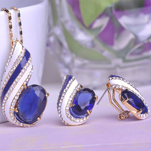 Valentine s Gift Sapphire Dubai Jewellery Sets Ceramic Thread Thin Necklace Pingente Max Brincos Rhinestone Prong
