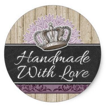 1 5 polegadas artesanal com lhandmade com amor rainha coroa embalagem do produto classico adesivo