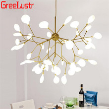 Firefly Decor Gold Led Chandelier Light Tree Branch Lustres Hanglamp For Hall Shop Bedroom G4 Ceiling Chandeliers Fixture