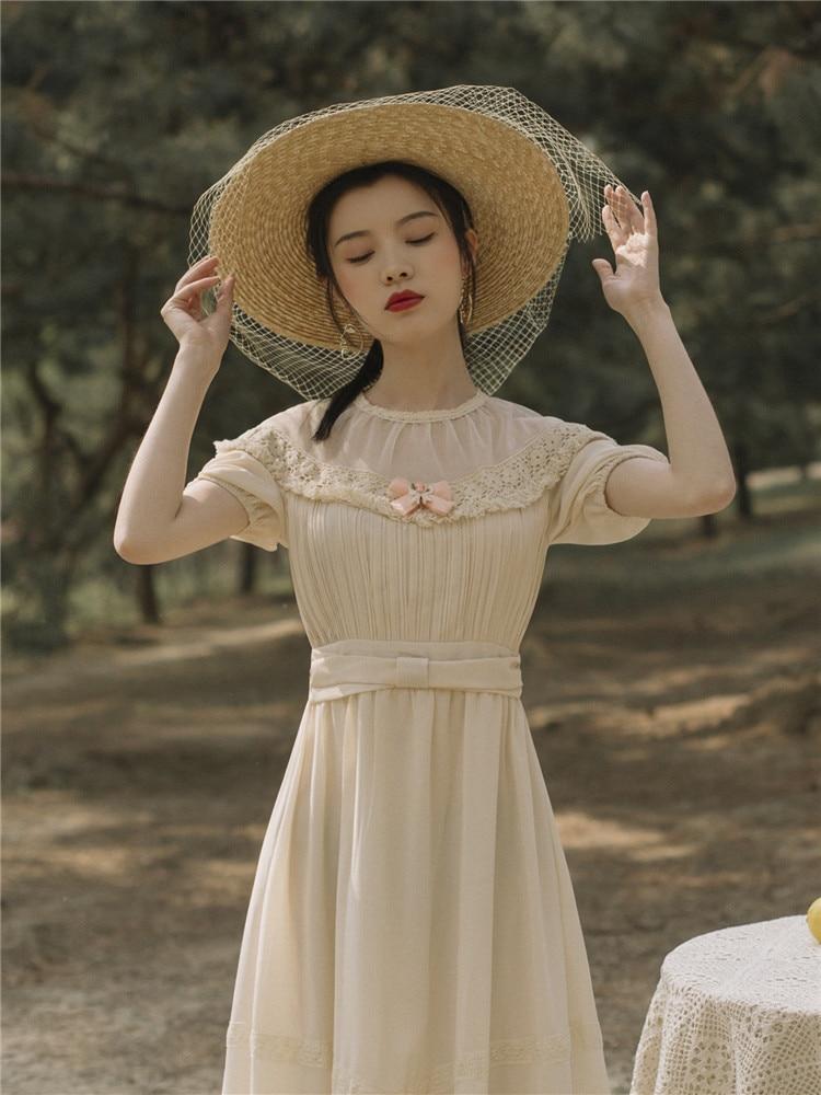 2019 nouvelle mode femmes robes français court vintage taille haute robe été doux