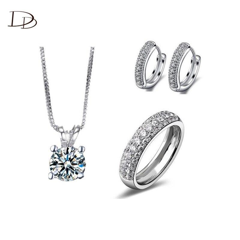 Alta calidad blanco 585 de color oro pendientes del anillo del Collar nupcial co