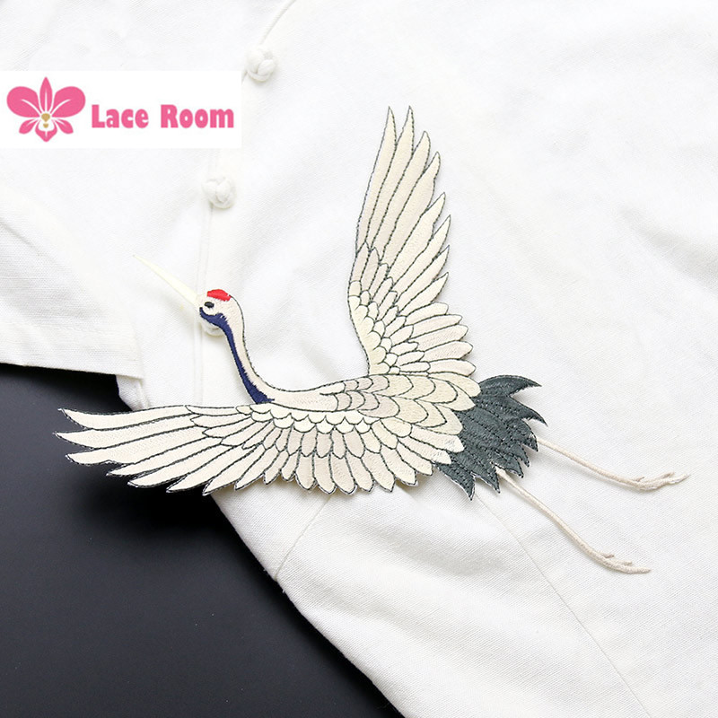 Red crowned crane birds lace patch large clothes stickers