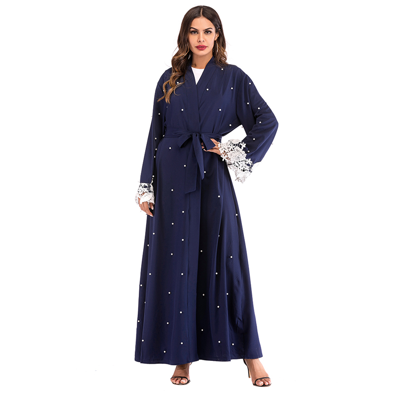 f9f47120a6 Abaya Kaftan Islam Malaysia Long Lace Beading Cardigan Muslim Hijab Dress  Robe Dubai Abayas For Women Turkish Islamic Clothing-in Islamic Clothing  from ...