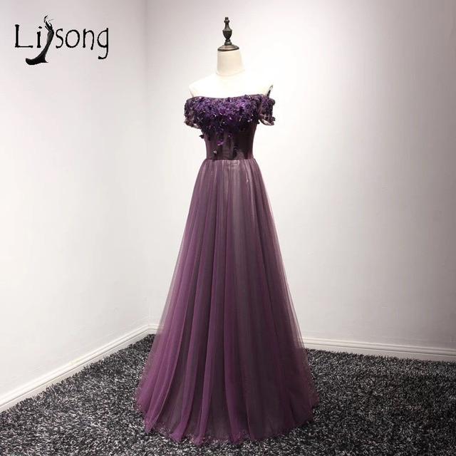 2017 Vintage Dark Purple Tulle Long Prom Dresses 3D Floral Pearls ...