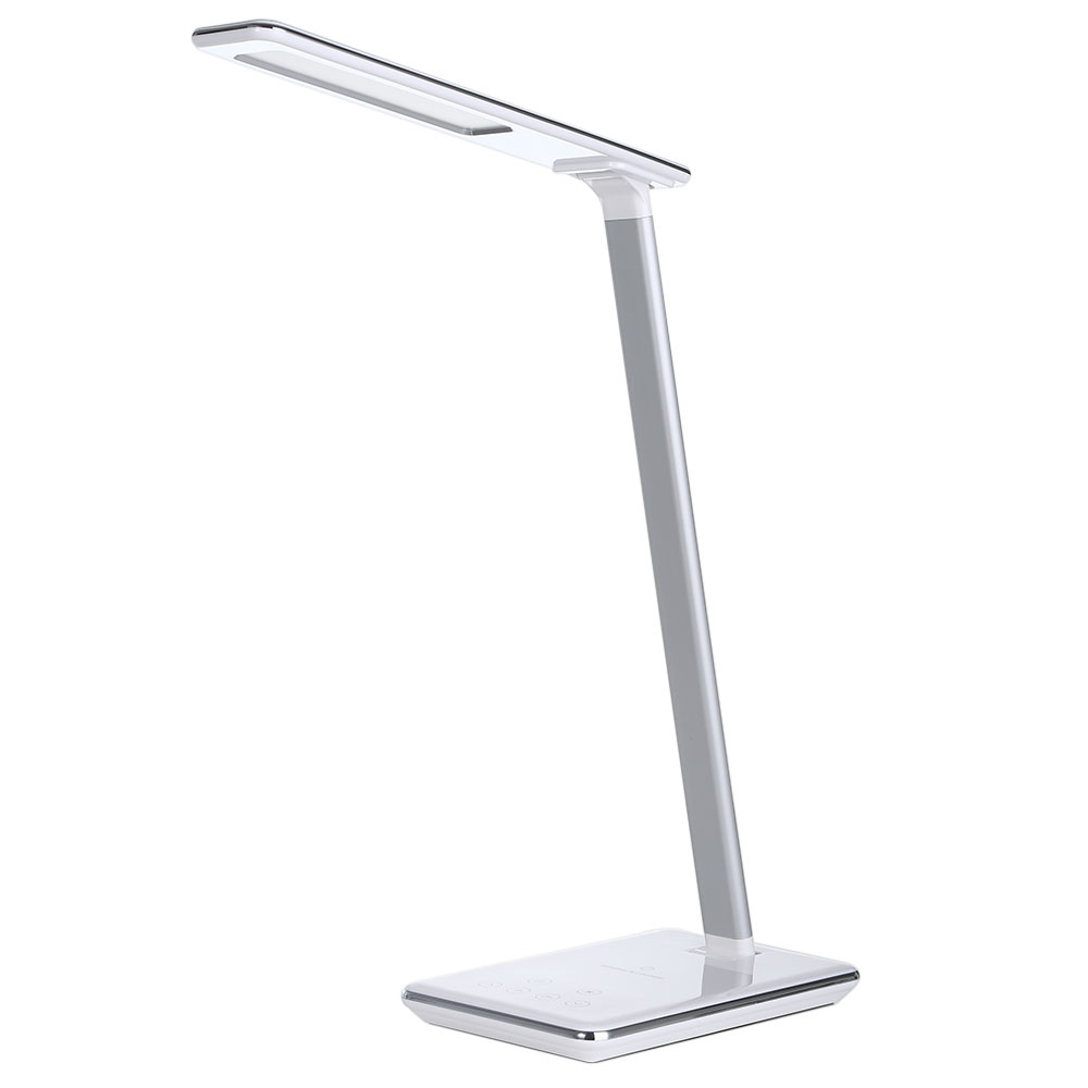 Elegant Slim Folding Eye Protection LED Desk Lamp with Qi Wireless Desktop Charger USB Output Dimmable Touch Switch reading lamp