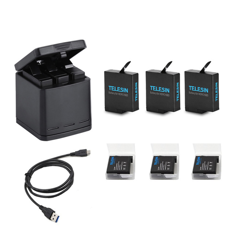3 Way LED Battery Charger Charging Storage Box +3 Battery Pack + Type C Cable for GoPro Hero 5 6 7 Camera Accessories3 Way LED Battery Charger Charging Storage Box +3 Battery Pack + Type C Cable for GoPro Hero 5 6 7 Camera Accessories
