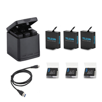 3 Way LED Battery Charger Charging Storage Box +3 Battery Pack + Type C Cable for GoPro Hero 5 6 7 Camera Accessories
