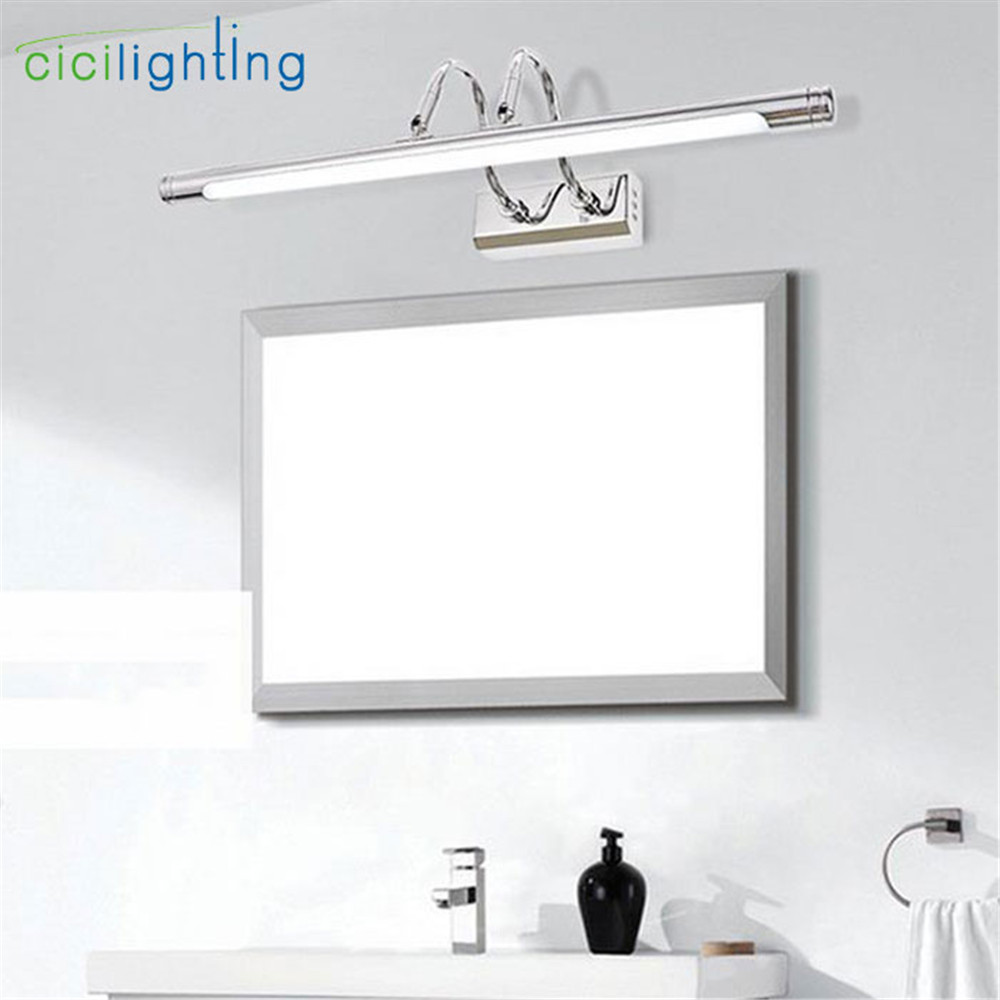 110V - 240V 10W 62cm long 22cm to wall Silver Mirror headlight LED bathroom mirror cabinet light modern minimalist makeup lamps modern minimalist waterproof antifog aluminum acryl long led mirror light for bathroom cabinet aisle wall lamp 35 48 61cm 1134