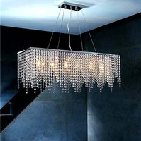 Modern Fashion Luxurious Rectangle K9 Crystal Led E14 E12 6 Heads Pendant Light For Living Room