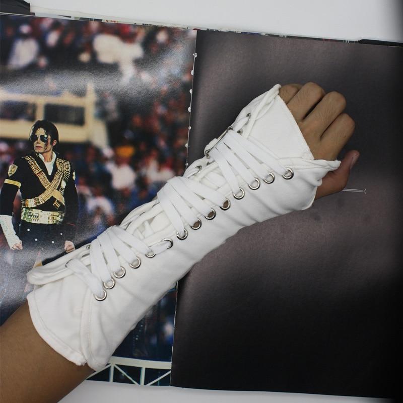 MJ Michael Jackson Collection Black White BAD Punk Cotton Adjustable ArmBrace Glove Performance Show Party