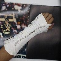 MJ Michael Jackson koleksiyonu Siyah Beyaz KÖTÜ Punk Pamuk Ayarlanabilir ArmBrace Eldiven Performans Göster Parti