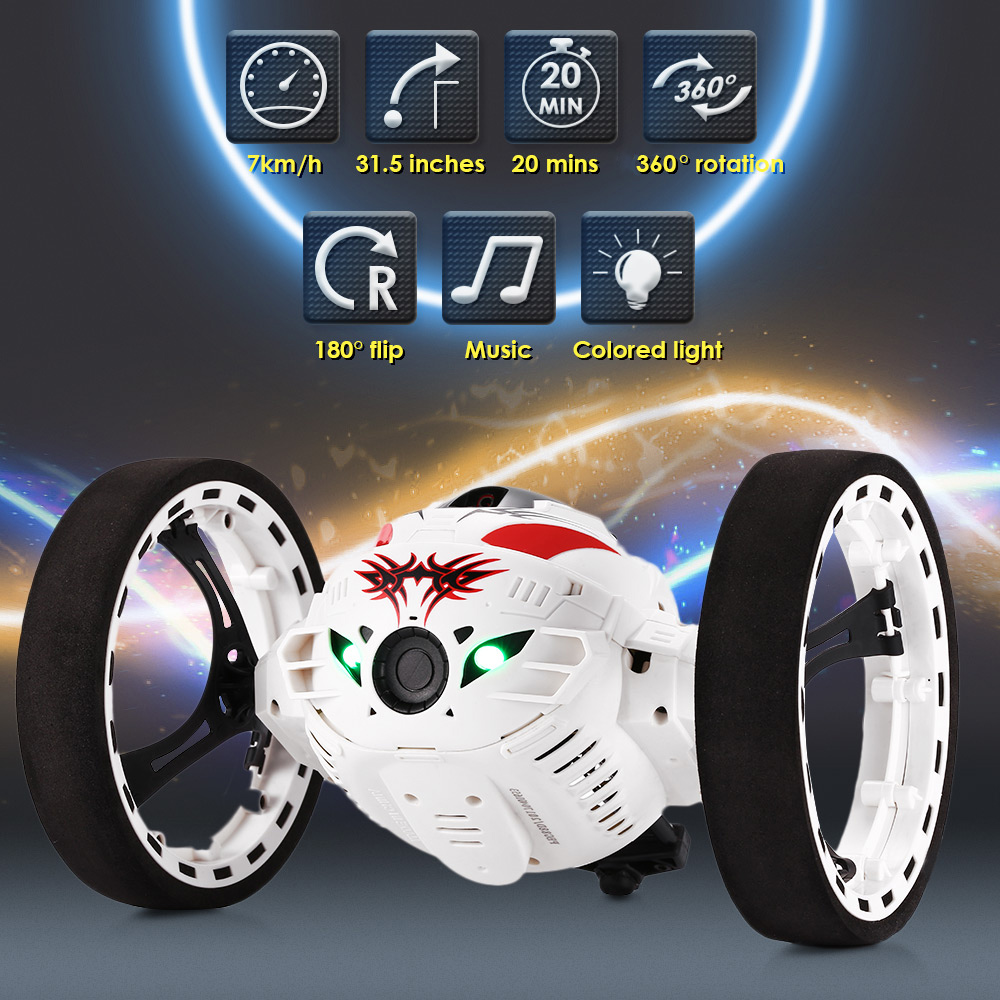 цены RC Car Bounce Car PEG - 88 2.4G Remote Control Toys Jumping Car With Flexible Wheels Rotation LED Night Lights RC Robot Car Gift