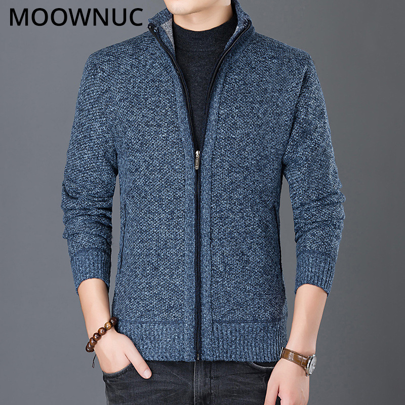 New Cardigan Sweater Male Autumn Solid Fashion Homme Slim Keep Warm Men Smart Casual Sweaters Bottoming Shirt Thick MOOWNUC MWC