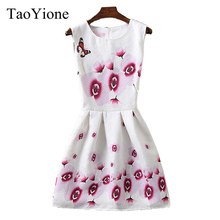 2018 New Spring Fashion Print Flower Womens Dress Sleeveless Knee Length Dress Casual Slim Bodycon Dress Vintage Female Clothing