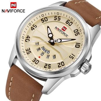 NAVIFORCE luksusowa marka mężczyźni zegarki wojskowe męska zegarek kwarcowy z datownikiem mLeather wodoodporny zegarek sportowy Relogio Masculino