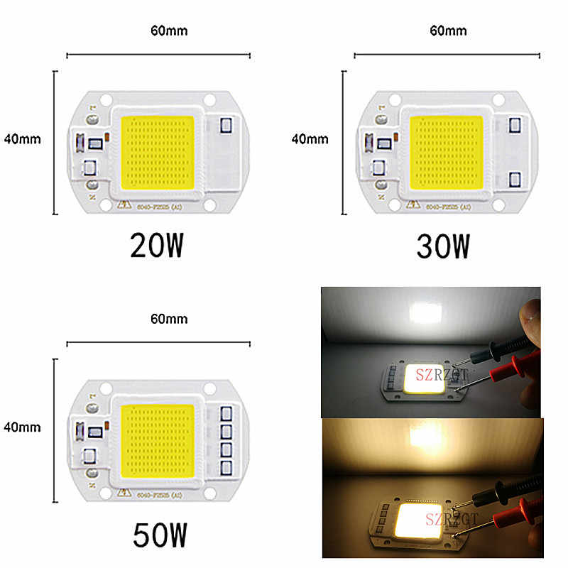 Lámpara Led CoB Chip 3 W 5 W 7 W 9 W 20 W 30 W 50 W bombilla de luz 220 V IP65 inteligente IC blanco cálido blanco para LED foco reflector