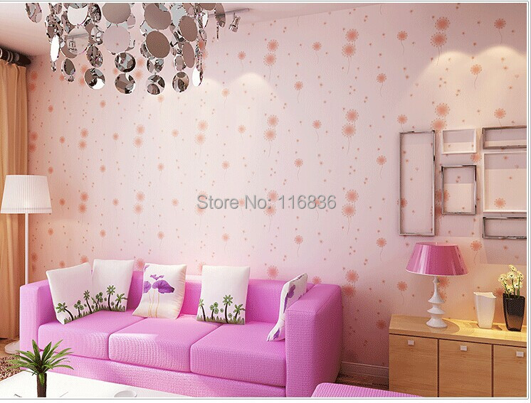 New Modern 3D Dandelions Flower Non Woven Wallpaper kids Wall Paper Roll For Living Room Bedroom Wedding Room beibehang non woven pink love printed wallpaper roll striped design wall paper for kid room girls minimalist home decoration