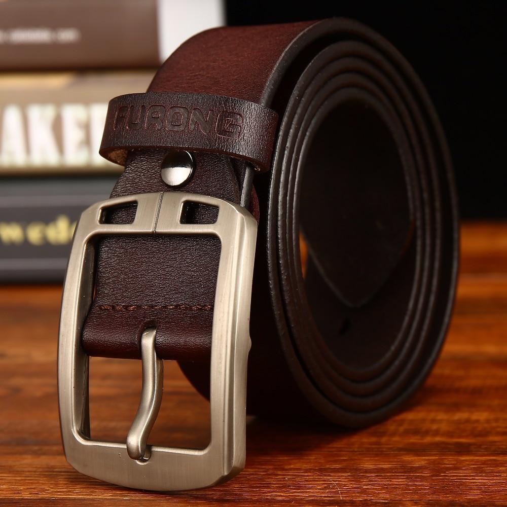 Correa de cuero de los hombres de hombre cuero genuino de la vaca de Cintura amplia hebilla de diseñador de moda cinturones para hombres de grano lleno cinturón de cuero
