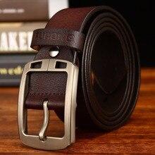 Leather Belt Men Antique Male Cow Genuine Wide Waist Pin Buckle Fashion Designer Belts For Full-grain
