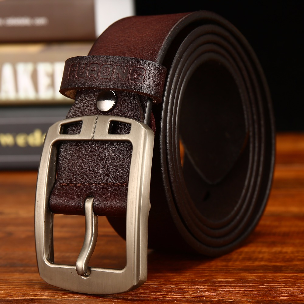 Leather Belt Men Antique Male Cow Genuine Leather Wide Waist Pin Buckle Fashion Designer Belts For Men Full-grain Leather Belt
