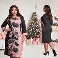 Elegante de moda vestidos de las mujeres nuevo 2017 mujeres de talla grande ropa l-6xl otoño invierno dress casual dress del o-cuello de impresión