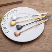 Ice Tea Dessert Spoon Tableware 1pcs Stainless Steel Heart Shaped Stirring Flatware Kitchen Accessories