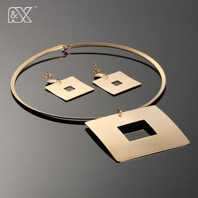 R & X nueva venta de velocidad a través de la venta de la popular Europea y Americana retro collar simple atmosférica cuadrado colgante de collar conjunto