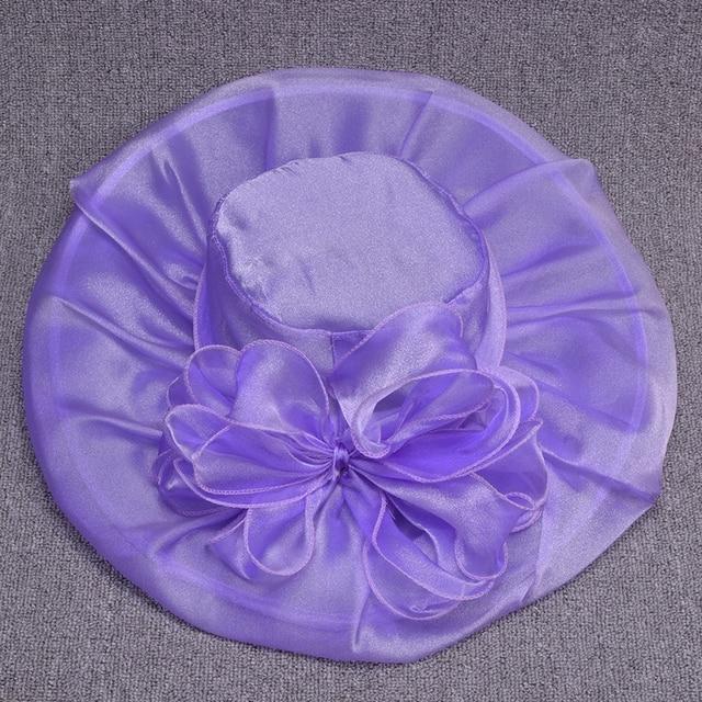 Women Summer Hats Female Silk Wide Brim Sun Hat  Kentucky Derby Floppy Hat Flower Ladies Beach Hats T201