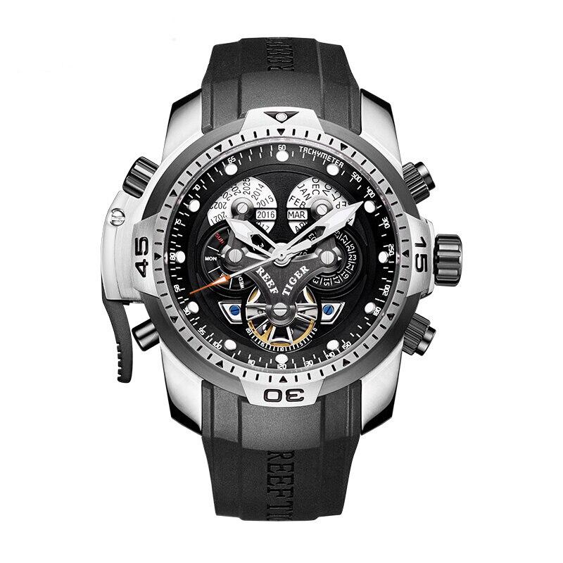 Reef Tiger Aurora Serier RGA3503 Men Sport Military Multifunction Dial Automatic Mechanical Wrist Watch - Rubber Watchband 機械 式 腕時計 スケルトン