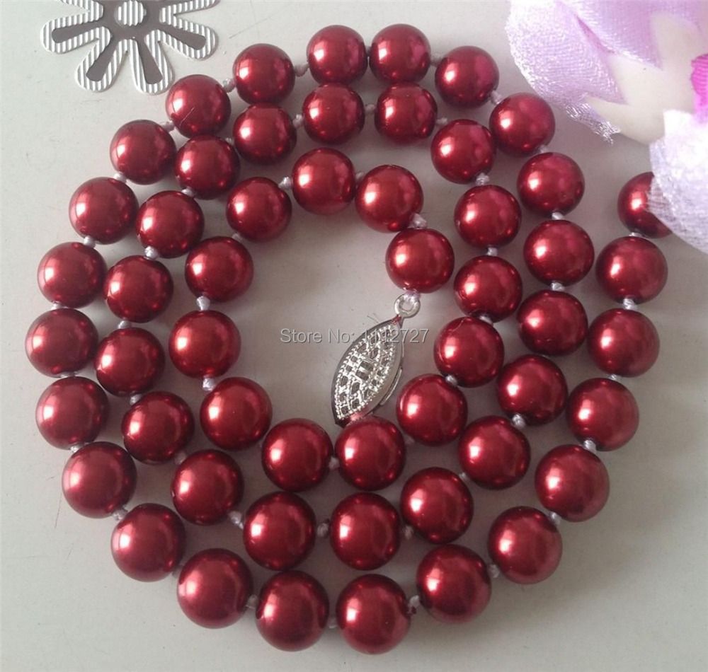 Fashion Jewellery 8mm red Ocean Sea Shell Pearl Necklace Beads Natural Stone Fashion Jewelry Making Design 18  Wolesale Price