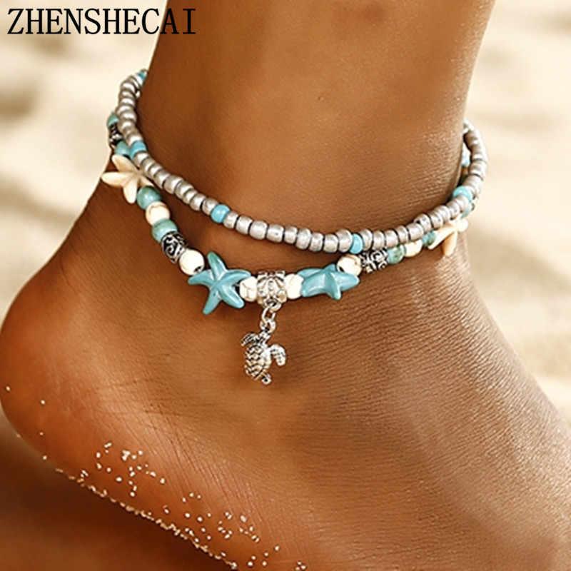 Bohemian Deniz Kabuğu Doğal Halhal Kadınlar Bilezik Halhal Altın Kabuk Inci Zincir Gümüş Bacak Ayak Bileği Yıldız Plaj Takı Toptan