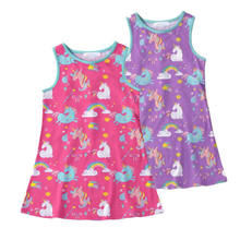 2018 New Summer Child Unicorn Dress Casual Toddler Kids Baby Girls Dress Sleeveless Baby Casual Sundress Clothes PurpleΠnk(China)