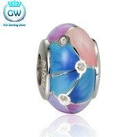 Srebrny 925 w kolorze owalne enamel koraliki 4.4mm fit kobiety diy wąż łańcuch bransoletki i bransolety marki amld029 gw biżuterii