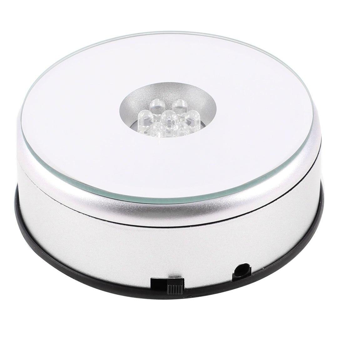 7 LED Light Stand Turntable Rotating Base for Display Crystals Glass metal circular rotating base camera photography turntable for standard servo f17314