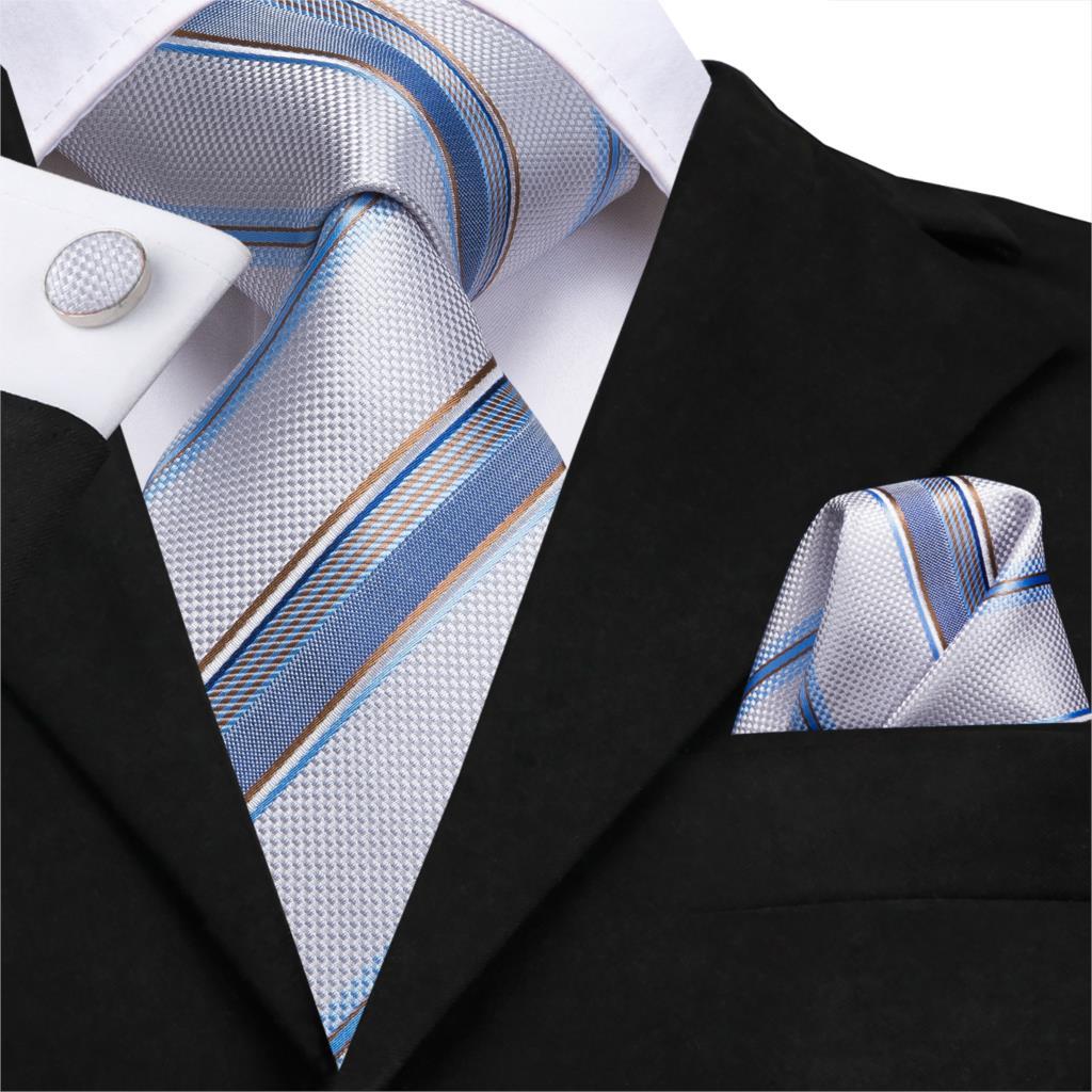 USA Striped Red White Blue Green Men/'s Tie Set Silk Necktie Hanky Cufflinks