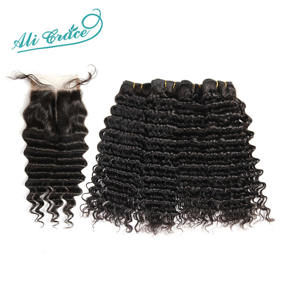 Ali Grace Hair Indian Deep Wave 3 Bundles with 4 4 Free Middle Part Lace Closure