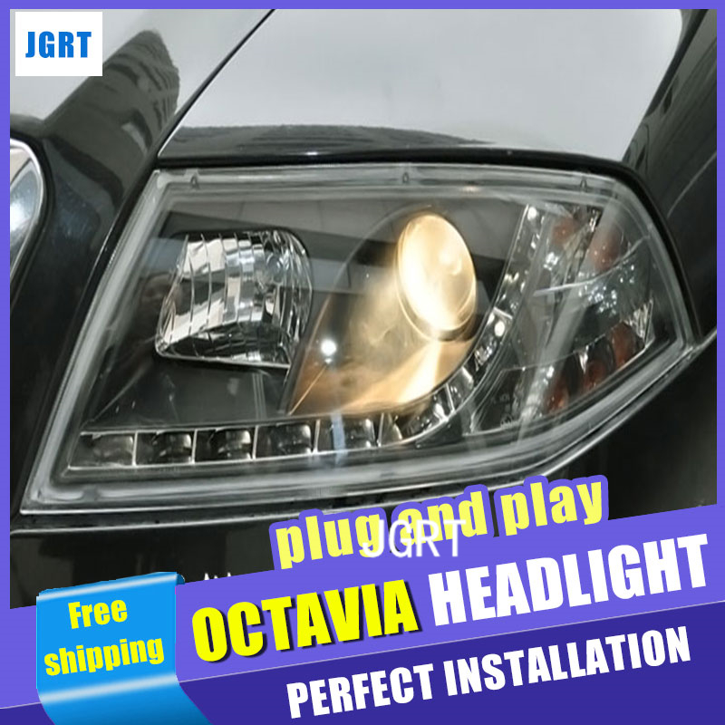 Car Styling Headlight assembly 2006-2009 for Skoda Octavia DoubleU Angel Eye LED DRL Lens Double Beam H7 hid kit with 2pcs. hireno headlamp for 2003 2009 toyota land cruiser prado headlight assembly led drl angel lens double beam hid xenon 2pcs