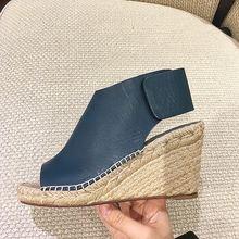 2018 Fashion Blue Smooth Leather Women Peep Toe Wedge Heels Braid Bottom Ladies Sexy Summer Sandals Elegant Platform High Heels