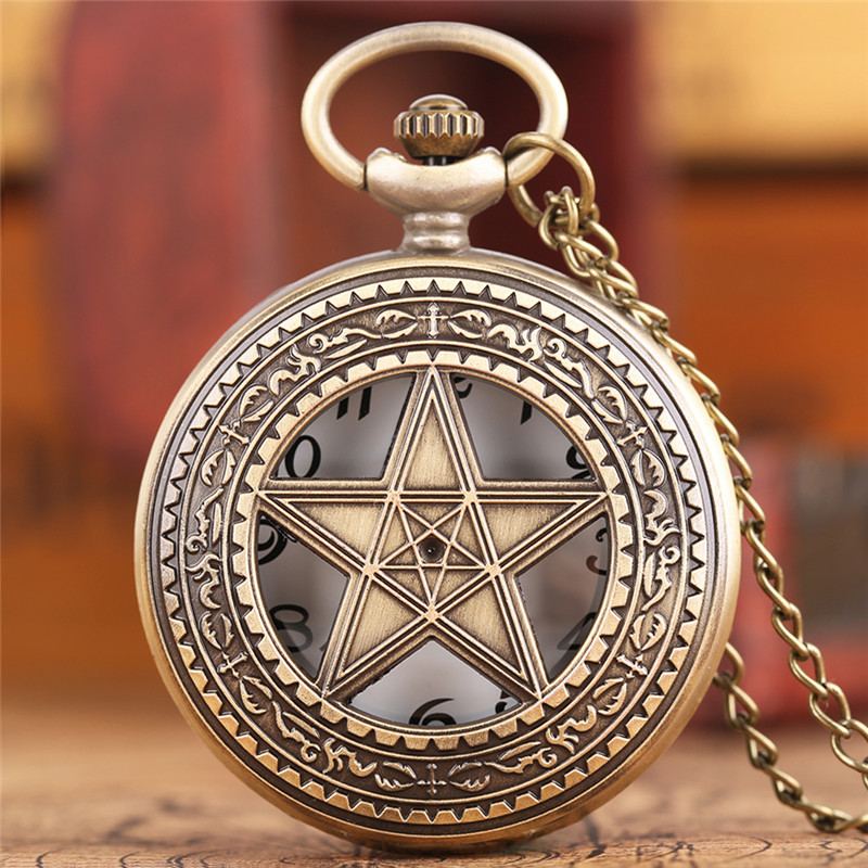 Fashion Five-pointed Star Necklace Pocket Watch Mens Womens Bronze Pendant Quartz Clock Copper Hollow Analog Relojes De Bolsillo