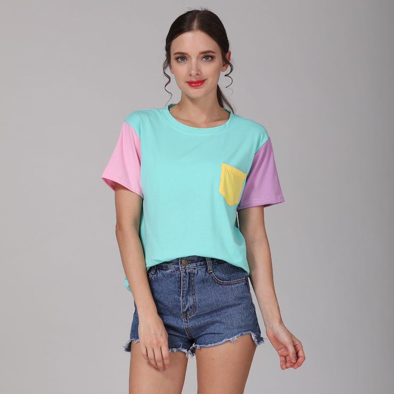 Summer Style Fashion Women T Shirts Kawaii Casual Cotton Spell Color Tops Patchwork Kpop Tshirt Free Shippingping 2
