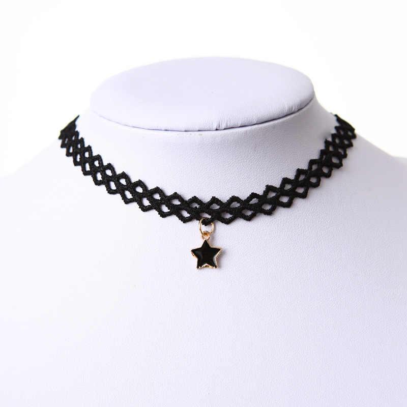 Nowa gorąca sprzedaż Punk Lace Hollow pięcioramienna gwiazda Choker naszyjnik gotycki czarny aksamit Bijoux wisiorki kobiety biżuteria łańcuszek do obojczyka