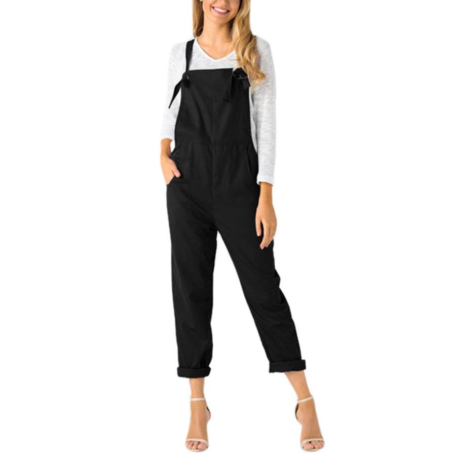 Casual Jumpsuit Trousers Women Fashion Sleeveless Loose Dungarees Elegant Overalls Summer Ladies Pockets Long Rompers Pants #JO