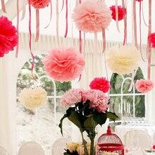 """5ชิ้นแฮนด์เมด6 """"(15เซนติเมตร)เนื้อเยื่อกระดาษปอมปอมกระดาษดอกไม้ลูกพู่สำหรับบ้านสวนวันเกิดงานแต่งงานและตกแต่งรถแต่งงาน"""