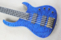 Blue 5 String Electric Bass Guitar, Aged Modulus FB 5 Bass Guitar Flea signature Quilted Maple Top FBJ5 15 6 25