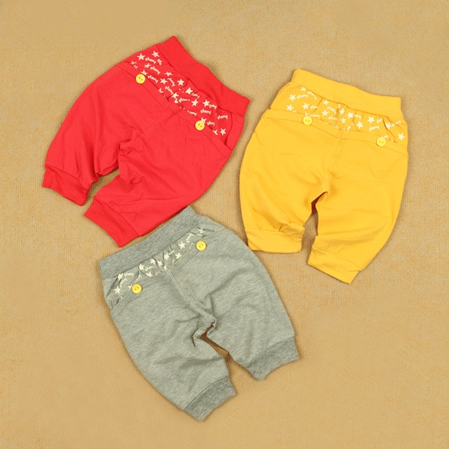 Male female child small children's clothing baby cotton lycra openable-crotch capris 5 trousers button red ash 3