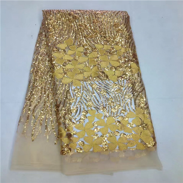 13k! Direct Selling Real 2017 High Quality African Lace Fabric Net French Tulle With Sequin Gold Nigerian For Wedding Sewing