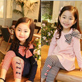 2017 малыш девушки бутик одежды набор детей с длинным рукавом Футболки с лук + полосатые брюки 2 шт. Casual Спортивный Костюм синий розовый DY135A