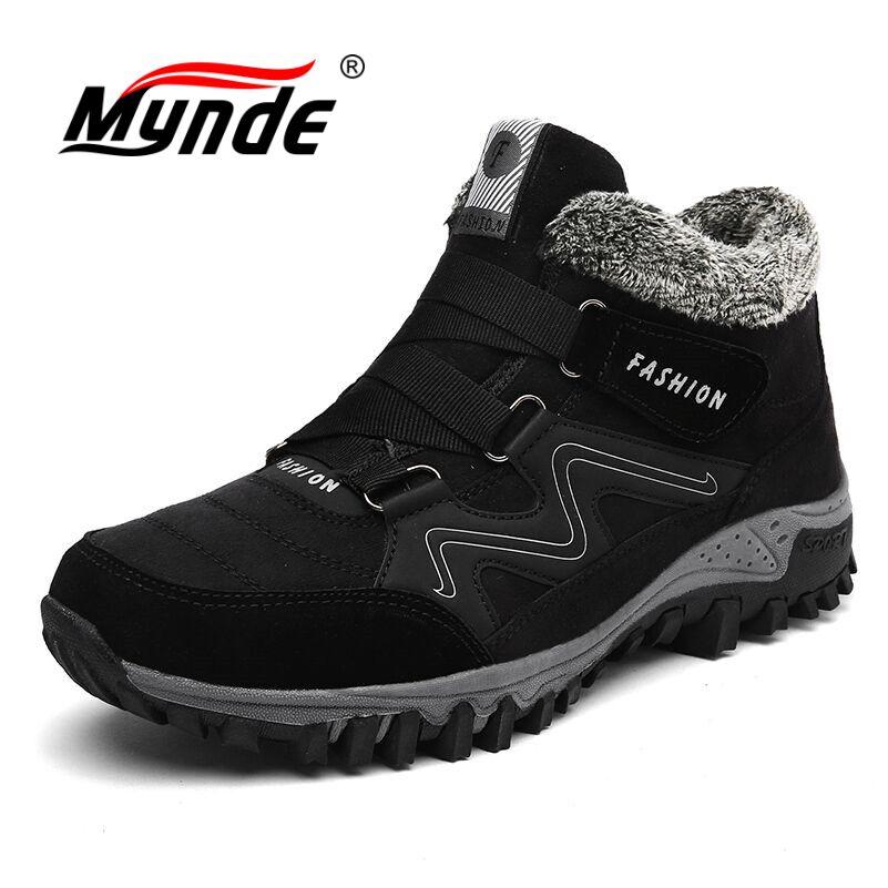 цены на Mynde Brand Men Suede Working Fur Warm Ankle Boots Leather Men's boots Men Winter Waterproof Men Snow Boots Big Size 39-46 в интернет-магазинах