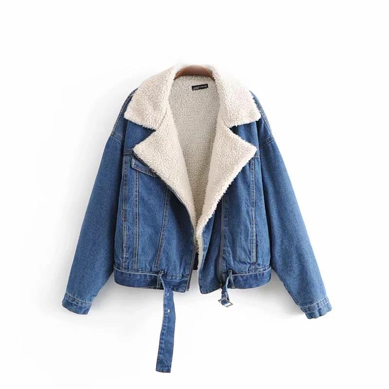 gray En Blue Cachemire Manteau Épais Jean Hiver Mélange Cardigan Femmes Veste Agneau Cowboy Zipper Chaud gBwHa6q