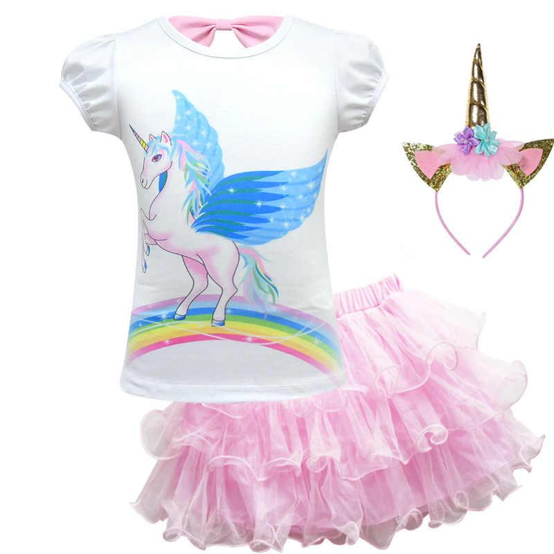 a9e3dbce6474 ... 2019 Girl Clothes Set Baby Princess Short Sleeve Unicorn T-shirt +Tutu  Skirt Headband ...